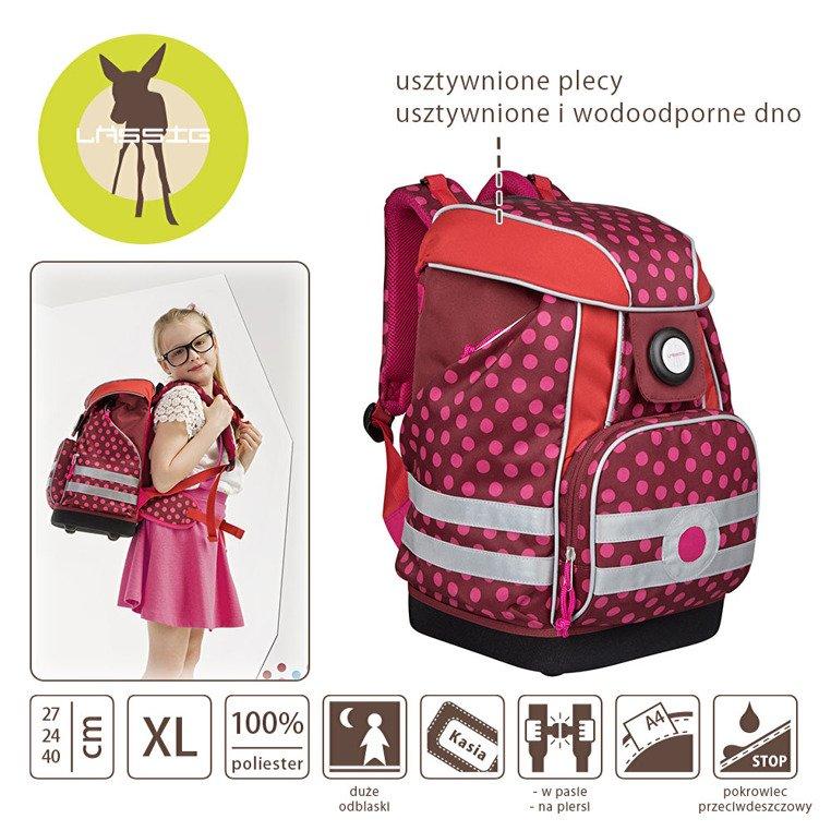e4129d6cefc70 ... Lassig Plecak szkolny XL ze sztywnymi plecami, i wodoodpornym dnem  Dottie red ...